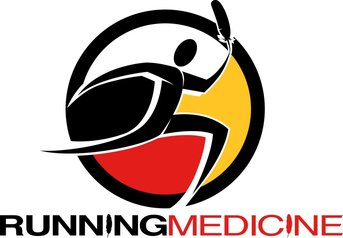 The Running Medicine program, created by physician Anthony Fleg and his wife, Shannon Fleg, Diné, in Albuquerque, New Mexico, helps Indigenous and non-Native community members enjoy the benefits of healthy activities at their own pace. (Logo illustration courtesy of Anthony Fleg)