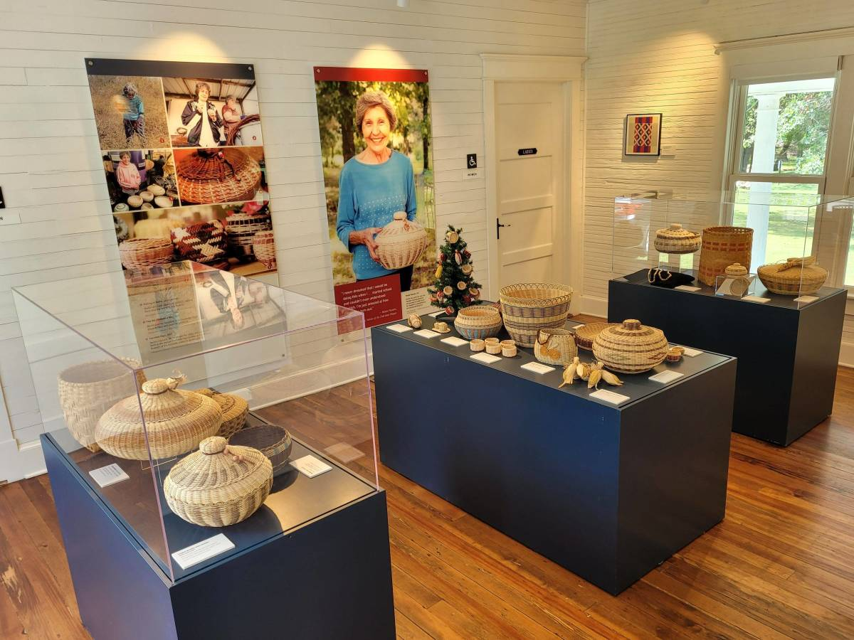 """Pictured: """"Bessie Russell: Weaving A Tradition"""" basketry exhibit."""