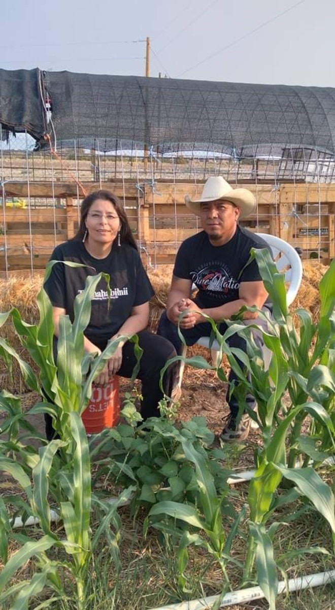 """Bobby Martin, Navajo-Aztec/Mayan, is a full-time food grower, and his wife, Sonlatsa """"Sunshine"""" Jim-Martin, 49, Navajo/Modoc, is manager of the Navajo Nation Division of Community Development. They are working to adapt their farming techniques to climate change. (Photo courtesy of Sunshine Jim-Martin)"""