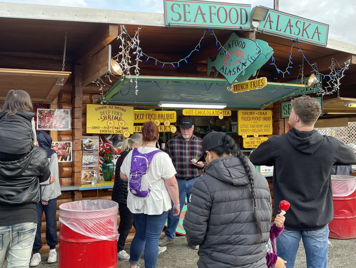 Salmon, halibut, crab, shrimp, along with reindeer sausage and fresh oysters, are a few of the favorite foods at the Alaska State Fair on Sept. 6, 2021 (Photo by Joaqlin Estus, Indian Country Today).