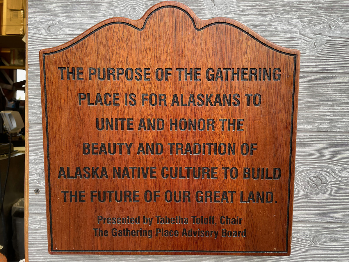 Sign for the Gathering Place at the Alaska State Fair in Palmer, Sept. 5, 2021 (Photo by Joaqlin Estus, Indian Country Today).