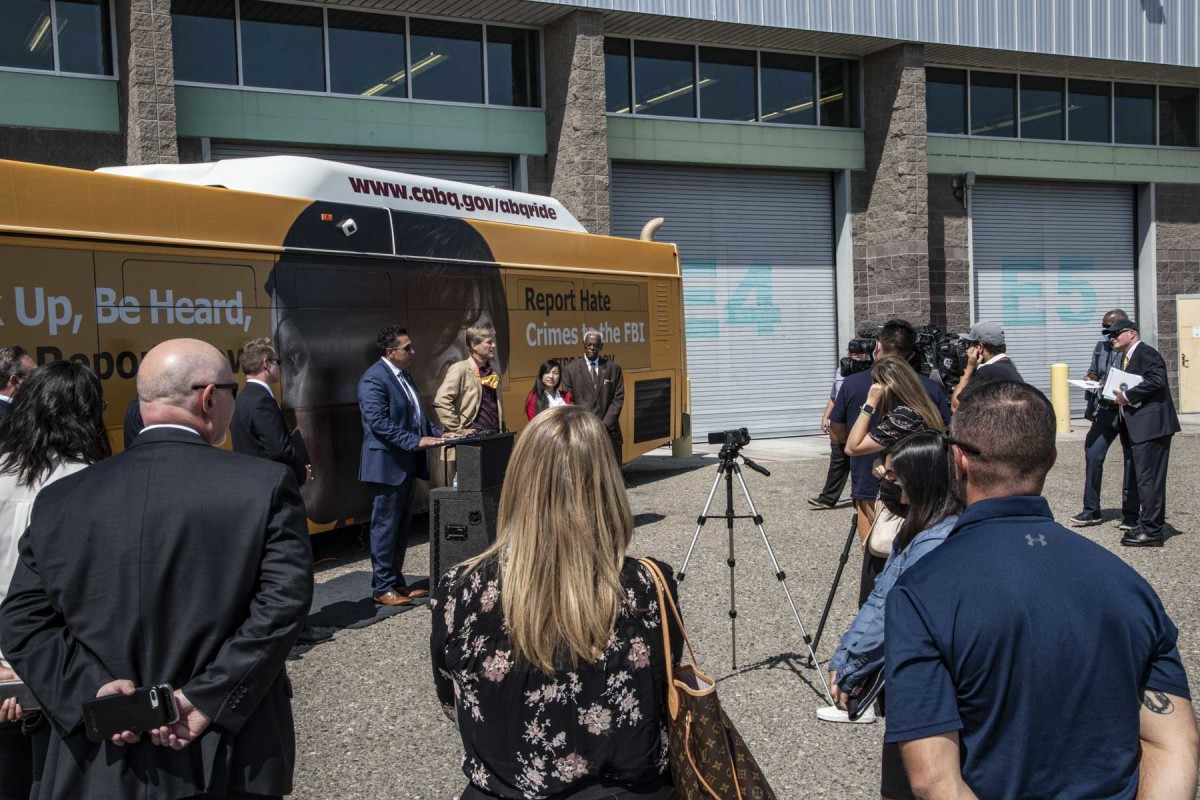 Pictured: Three Albuquerque public transit buses will have information prominently displayed on their exteriors encouraging victims and witnesses of hate crimes to report them to the FBI.