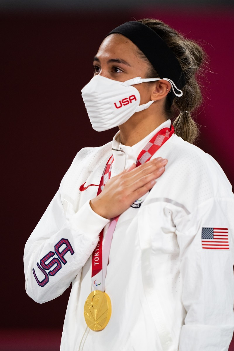Kaleo Kanahele Maclay, who is ethnic Hawaiian, grew emotional on the podium at the Tokyo Paralympics after winning a gold medal as a member of Team USA's sitting volleyball team. She was also named the Tokyo Paralympic Games Sitting Volleyball Best Setter. (Photo courtesy USA Volleyball)