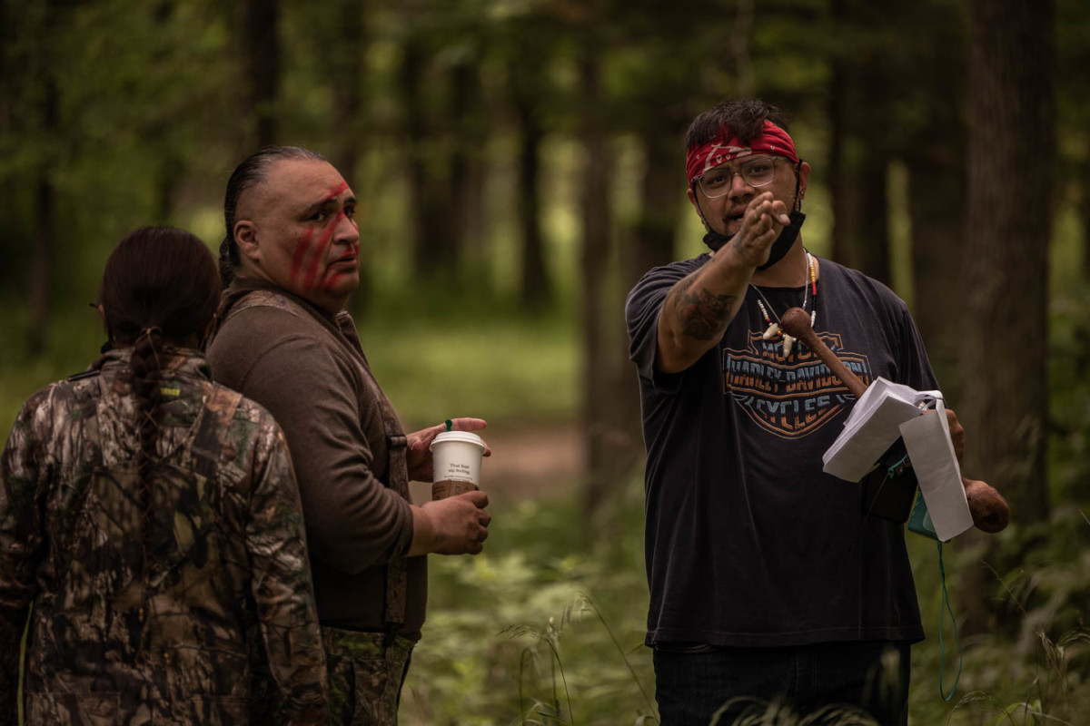 Sterlin Harjo on the set of 'Reservation Dogs' (Photo by Shane Brown)