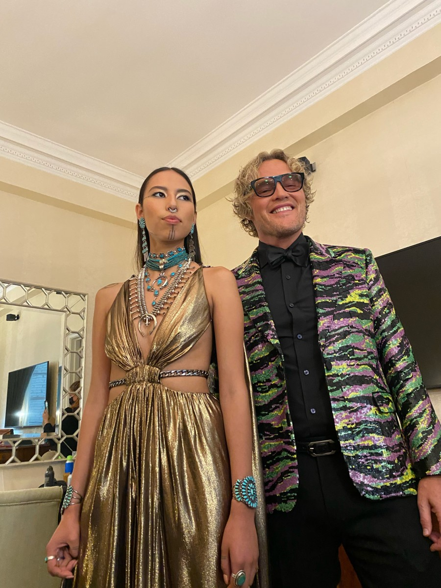 Fashion designer Peter Dundas poses for a photo with Quannah Chasinghorse before the 2021 Met Gala. (Photo by Jody Potts-Joseph)