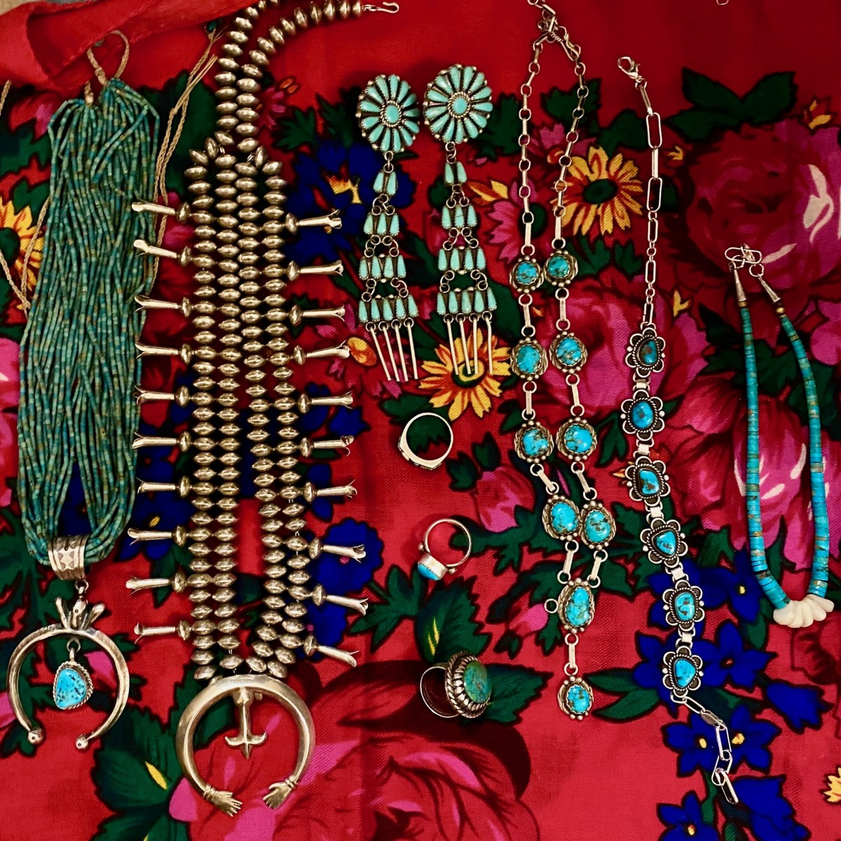 Former Miss Navajo Nation Jocelyn Billy-Upshaw's collection of Diné turquoise jewelry made by artists in the southwest. (Photo by Emily Sullivan)