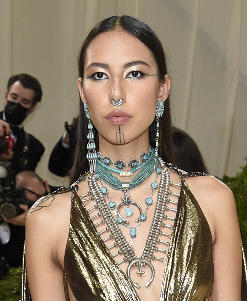 """Quannah Chasinghorse attends The Metropolitan Museum of Art's Costume Institute benefit gala celebrating the opening of the """"In America: A Lexicon of Fashion"""" exhibition on Monday, Sept. 13, 2021, in New York. (Photo by Evan Agostini/Invision/AP)"""
