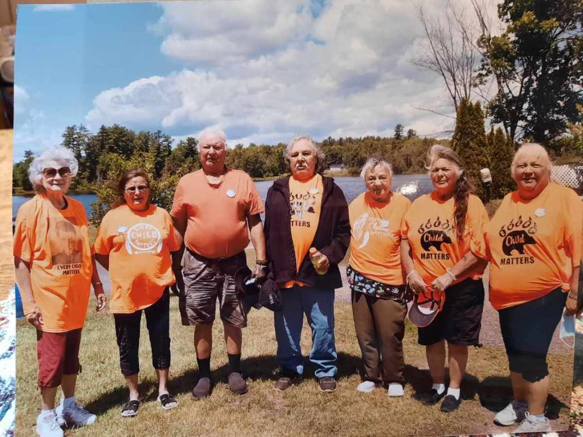 """Seven of Joey Commanda's siblings gathered to help with the fundraising efforts to help pay for a Memorial Walk in his honour. From left to right are Jacqueline (Commanda) Sarazin, Cynthia (Commanda) Tennisco, Alex and Rocky Commanda, Joyce (Commanda) Levesque, Loretta """"Budgie"""" (Commanda) Nadeau and Valerie (Commanda) Smith. Missing from the photo are Robert and Jane Commanda and Shelley (Commanda) Belaire (Description provided by Eganville Leader) - Facebook"""